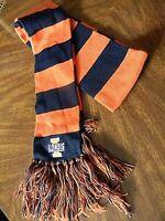 """U of Illinois striped neck scarf navy blue & orange with fringe 80"""" long"""