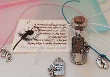 WISH IN A BOTTLE KEY CHARM CONGRATULATIONS NEW BABY IT'S A BOY OR GIRL GIFT CARD