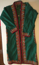 green wool Vintage handmade stitching embroidery ladies coat ethnic size S