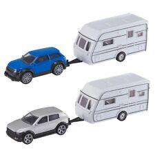 Teamsters Car & Caravan With Opening Doors Toy Model Vehicle Silver
