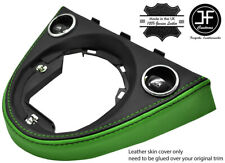BLACK & GREEN MANUAL GEAR SURROUND REAL LEATHER COVER FOR FIAT 500 2016-2019
