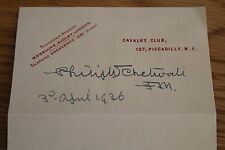 FIELD MARSHAL PHILIP WALHOUSE CHETWODE SIGNATURE