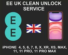 EE UK Clean Unlock Service, iPhone 4, 5, 6, 7, 8, X, XR, XS, MAX, 11, Pro, Max