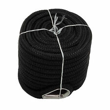 Anchor Rope 1/2 Inch 100 Feet Double Braided Nylon Rope with Thimble Black