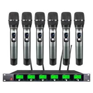 6 Channel Pro Audio Wireless Microphone System UHF 6 Handheld Metal Dynamic Kara