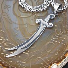 925 Sterling Silver Mens Necklace Zulfiqar Pendant Byzantine Kings chain 55cm