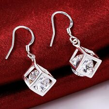 1pair Hollow Crystal Cube Pendant 925 Silver Dangle Earrings fashion Jewelry