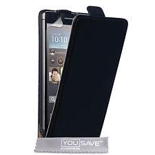 Huawei Ascend P6 Elegante Negro Premium De Lujo Auténtico Cuero Flip Funda Diseño Delgado