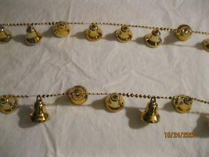Vintage Christmas Garland Plastic GOLD CHAIN BELLS 2 Strands