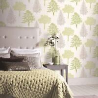 Tree Woodland Forest Green Grey Glitter Vinyl Textured Wallpaper Arthouse