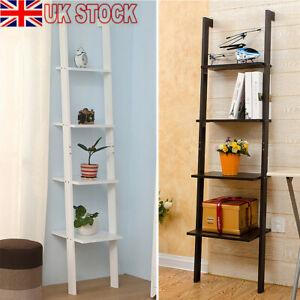 4 Tier Bookcase Ladder Shelf Unit Wall Rack Shelf Storage Shelving Bookshelf New