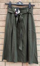 Florencia & Fred verde caqui con cinturón Tencel Flippy una línea militar Falda 10 S
