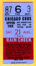 8/21/65 CUBS/ASTROS TICKET STUB-JIM WYNN CAREER HR #25/ROBIN ROBERTS WIN #279