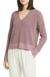 EILEEN FISHER $238 Womens Sweater Boxy V-Neck Pullover Organic Cotton Mauve PL