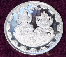 Pure Silver (999) Ganesh Lakshmi Coin 10g auspicious for Diwali, Dhanteras puja