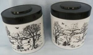 Vintage Maxwell House Coffee Canister White Milk Glass Black Design Set of 2