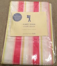 "Pottery Barn Kids Aimee Pillow Sham Standard 26"" x 20"" Pink Stripes Cotton New"