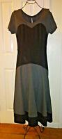 Eshakti Gray Ponte Knit Midi Dress Sz 12  L Black/Gray Color Block Fit & Flare
