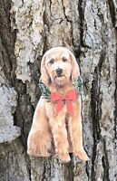 Goldendoodle with Holiday Christmas Wreath Primitives by Kathy Ornament