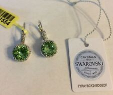 Platinum Bond Brass Lever Back Earrings made with Swarovski Peridot Crystal