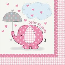 Baby Shower Umbrellaphants Party Girl Pink 16 Napkins 2 Ply 33x 33 Cms