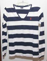 Ralph Lauren Sport Women's Long Sleeve Shirt Size S Stripe Blue White Pima