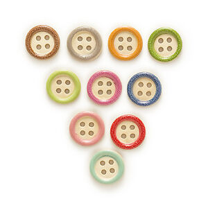 50pcs 4 Hole Round Mixed Wood Buttons Decor Sewing Scrapbooking Clothing 15mm