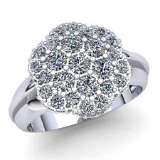 Natural 3ct Round Cut Diamond Ladies Fancy Cluster Engagement Ring 14K Gold