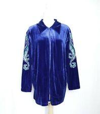 Bob Mackie Blue Velvet Embroidered Jacket Large