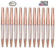 12 pcs/Lot New Luxury Bling Metal Rose Gold Diamond Crystal Pen Ballpoint pens