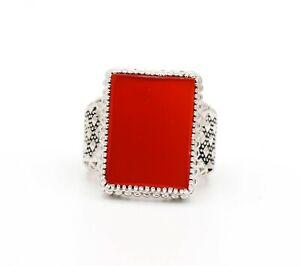 Carnelian Ring Gemstone Ring 925 Sterling Silver Men's Ring Birthstone Ring