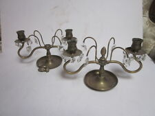 Vintage Solid Brass & Glass Prisms 2 Light Candelabra And One For Parts