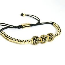 Men And Women Beads Bracelet 3 Balls Inlaid Black Crystal 24k Yellow Gold Plated