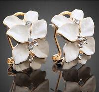 Gardenia Flower Crystal Ear Studs Rhinestone Earrings Ear Hoop Buckle hs8 1 pair
