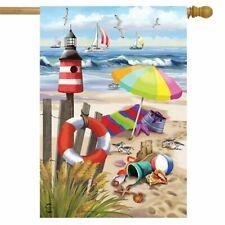 """Shore Life Summer House Flag Nautical Shoreline 28"""" X 40"""" Briarwood Lane"""