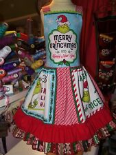 Vintage Fabric  Grinch stole christmas Girls Dress Size 8/9 29 in Length