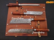 Super Cutlery hand forged Damascus Kitchen Knives Set (4-Pieces) RoseWood Handle