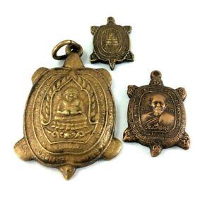 Rare 3 Pcs TURTLE Coins Amulet LP LIEW Thai Power Terrapin Pendant Talisman p #3
