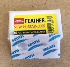 5 Feather New Hi Stainless Platinum Coated Double Edge Razor Blades  / 5 Blades