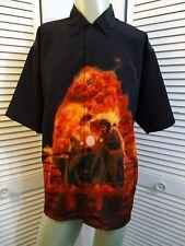 Mens ROCKHOUSE ROADHOUSE Flaming Skeletons Motorcycle Sidecar Camp Shirt M MED