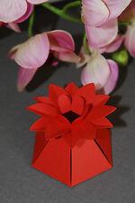 Fiore Stile Scatole Favore ~ Rosso ~ Confezione da 10 ~ dolci, torte, Amaretti, chocs