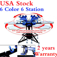 USA! 6 Color 6 Station Silk Screen Press Printer Screen Printing Machine