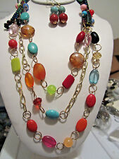 Three Layers Multi Color Lucite Bead Gold Tone Link Long Necklace Earring Set
