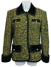 Guy Laroche Velvet Trim Black and Yellow Tweed Jacket F 38