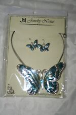 Jewelry Nexus Blue Butterfly Pendant Necklace with Enamel Inlay and Matching Set
