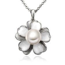 Weißgold Plattiert Perle Keramik Edelstahl Anhänger Halskette Weihnachtsgeschenk