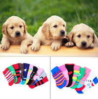 4pcs Assorted Pattern Pet Dog Puppy Cat Non-Slip Shoes Slippers Socks Clothes