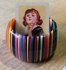 *Hand Crafted 4.6cm Wide Multicoloured Resin Bangle