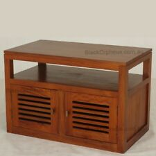 TV Cabinet, Small TV Stand, Light Pecan Brown Solid Timber, W90xD50xH60, ETU