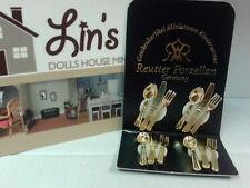 Reutter porcelain Dolls House 1:12th Scale Gold Cutlery Set 19180